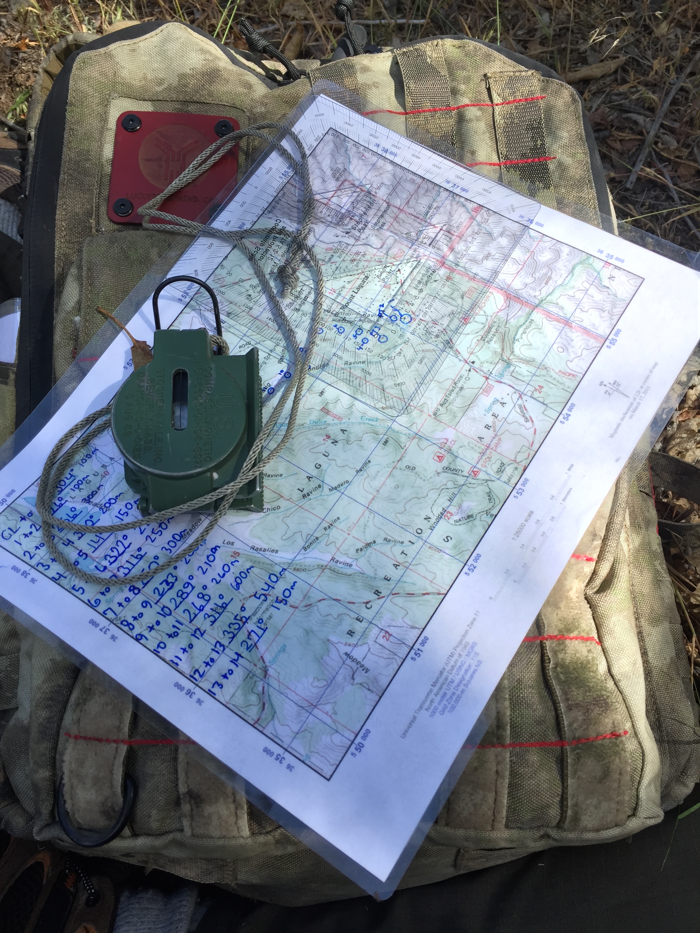 M2 lensatic compass and map for land nav